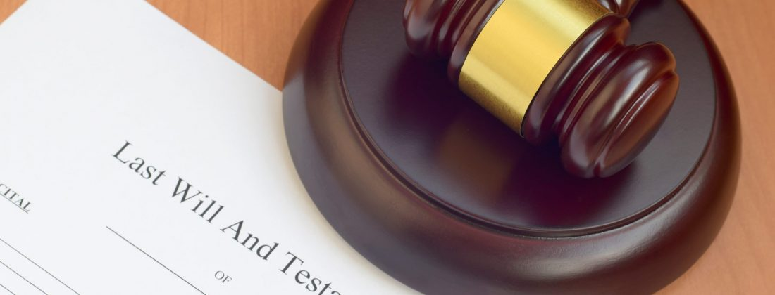Justice mallet and Last Will and Testament