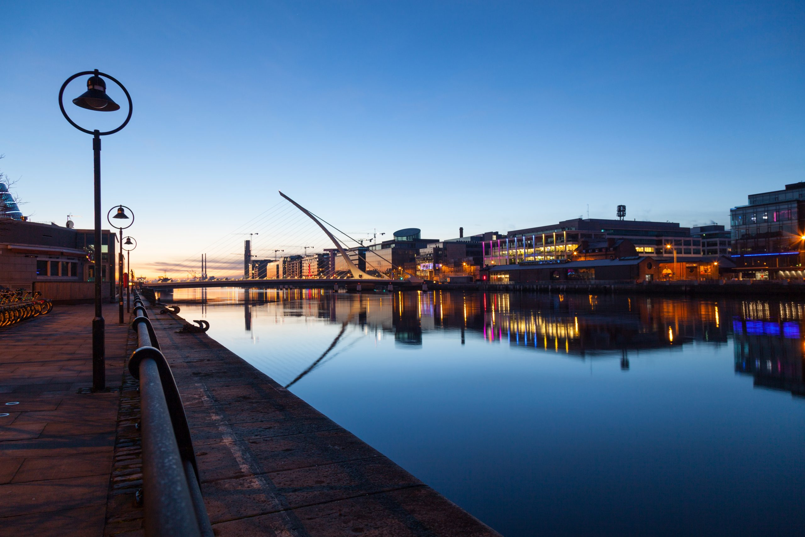Liffey river promenade in the early morning